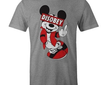Mickey DISOBEY Fashion Skater T-shirt Obey Mouse Hipster Swa