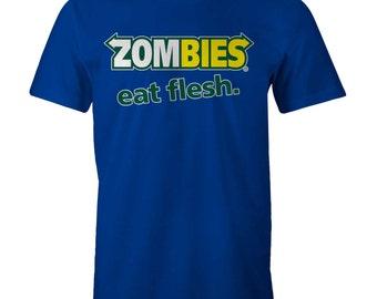 ZOMBIES EAT FLESH T-shirt Funny Subway parody Walking Dead M