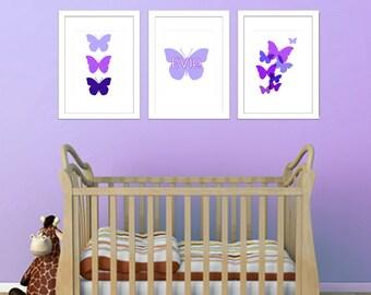 Kids Nursery Prints Butterflies Purple Custom Name - Set of 3