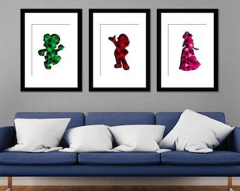 Mario Characters Modern Art Prints Geometric - Set of 3
