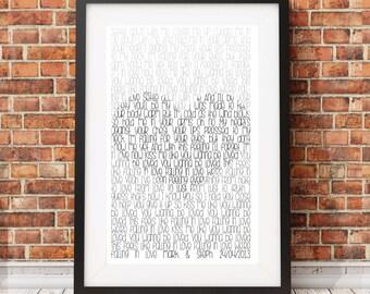 Wedding Lyrics Faded Heart Custom Made