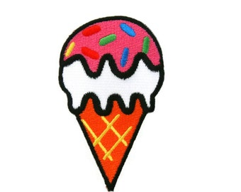 Ice Cream Cone Embroidered Applique Iron on Patch
