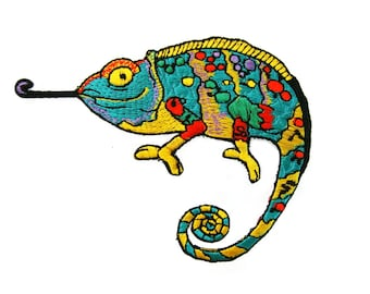 Chameleon Lizard Gekko Salamander Embroidered Applique Iron on Patch