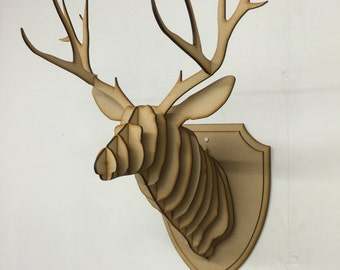 Large/ Small Wooden Deer Head Kit Wall Art Decor - Laser Cut Stag Head With Antlers 3D Animal Head