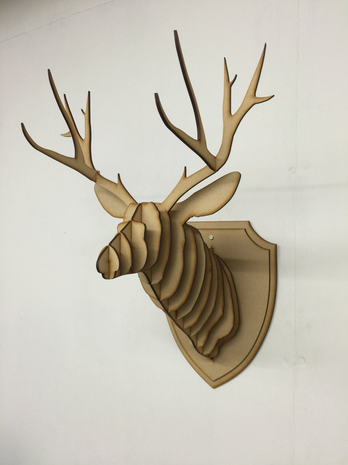 Large small wooden deer head kit wall art decor laser cut - Applique murale tete de cerf ...
