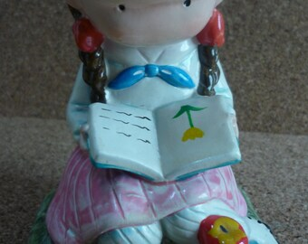 Vtg Joan Walsh Anglund -- Girl Figurine Reading Book -- Bookend -- Ceramic -- 1970's