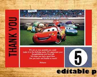 Cars Thank you card - EDITABLE TEXT- Instant Download
