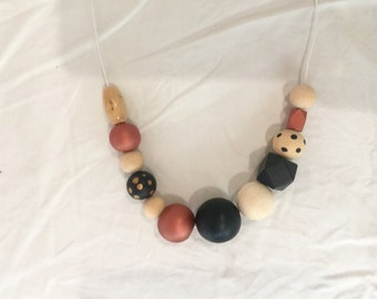 Wooden bead necklace // The Gillian // wooden bead necklace // black, rose gold, spots and natural // hand painted