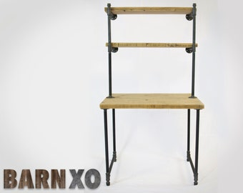 Salvaged Wood Computer Desk Finish w/ 2 Shelves Attach to Wall - Gas Pipe For Legs & Shelving -