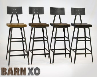 Chair, Stool, Barstool, Industrial Bar Stool-Urban Bar Stool w/ Steel Back - Industrial Modern - Salvaged Barn Wood
