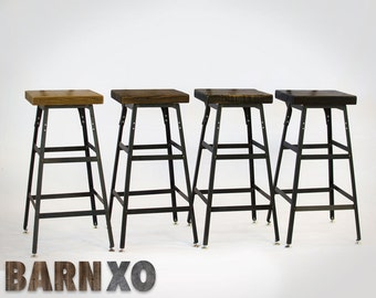 Bar Stools - Reclaimed Urban Wood Industrial Bar Stools-Handmade In The U.S.A - Set of 4 FAST SHIPPING