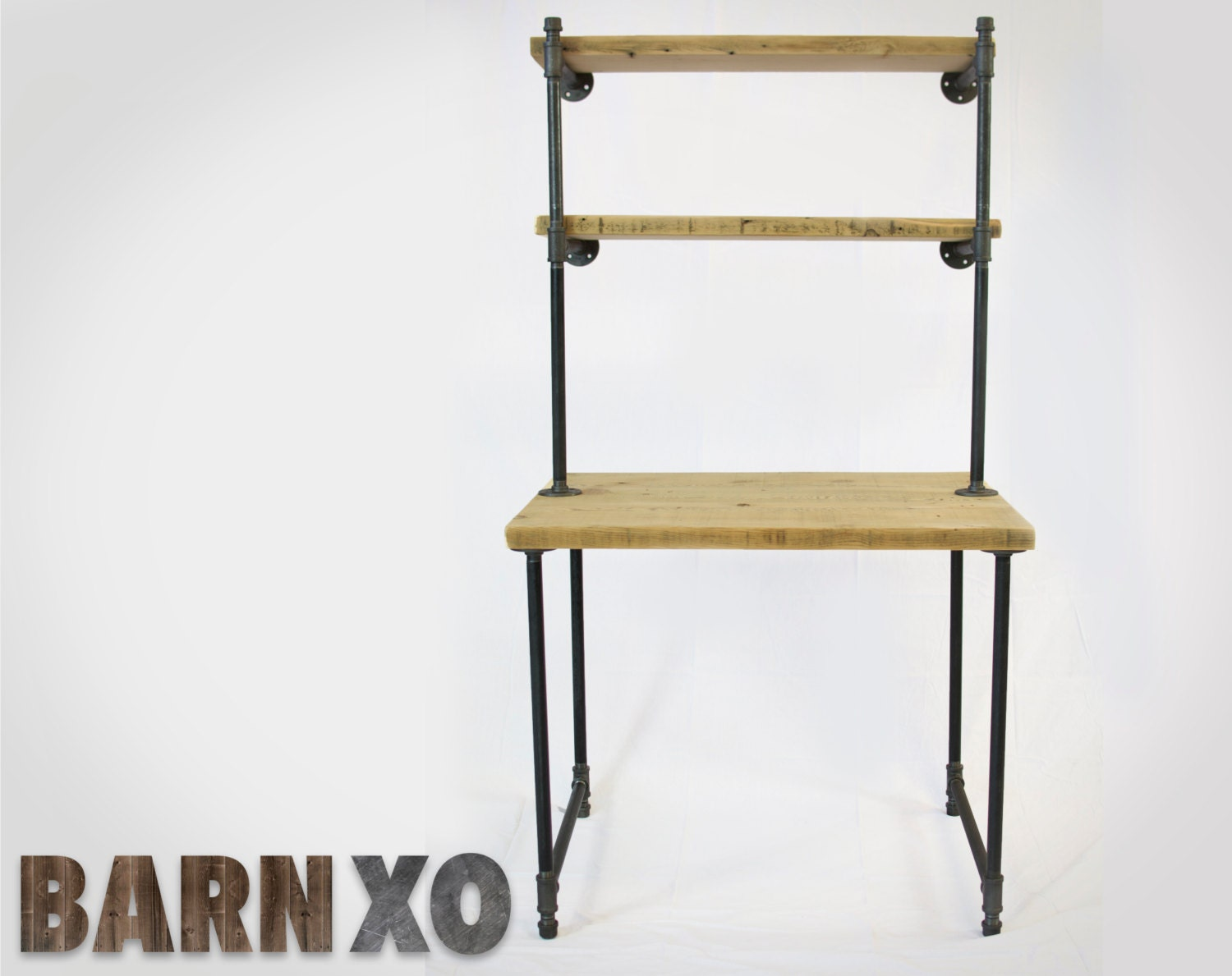 Very Impressive portraiture of Reclaimed Wood Computer Desk w/ 2 Shelves Industrial by barnxo with #8C723F color and 1500x1189 pixels