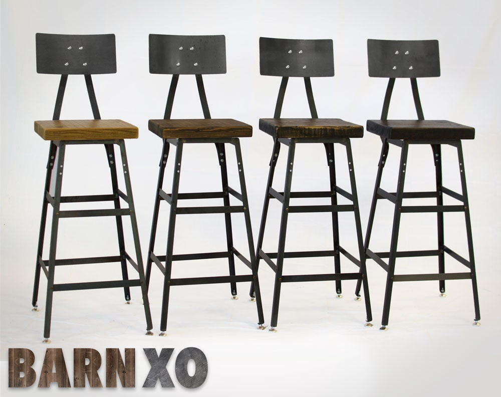 Set of reclaimed wood urban industrial bar stools with steel