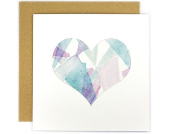 Turquoise Heart Of Shards Greeting Card | Made In Australia