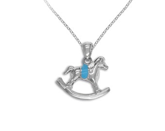 Sterling Silver Blue Pink Rocking Horse Necklace Pendant Brass Charm