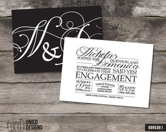 Engagement Invitation / Double Sided / Black and White / Engagement Invitation Printable