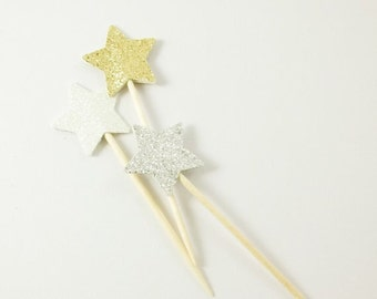 12 Glitter Star Toothpick Toppers