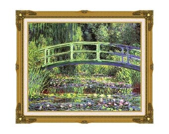 Claude Monet Water Lilies and Japanese Bridge Framed Canvas Wall Art Print Giclee Painting Reproduction - Sizes Small to Large - M00387