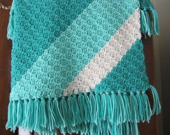 Teal and White Knitted Blanket