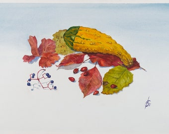 Autumn Still Life with Gourd and Leaves Watercolor Realistic Painting Print Signed by Author