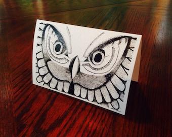 8 Owl Stippling Cards Plus Envelopes