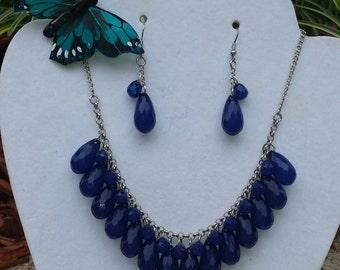 Navy Blue Tear Drop Necklace