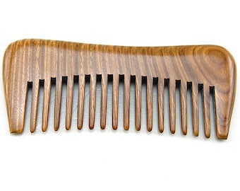 "Handmade No Static Natural Green Sandalwood Wide Tooth Comb, Pocket Wooden Comb 5"" (12.5cm)"