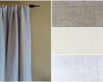 Curtain Panels Extra Wide 100% Flax Linen Curtain Panel