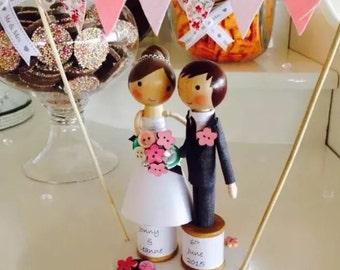 Custom made Bride and Groom peg wedding cake topper