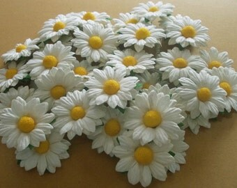 """25 Paper Flowers (Size 1.5"""") Mulberry Paper Craft flower, Wedding, Mulberry paper daisies, Bouquets and Crafts, White Paper Daisy."""
