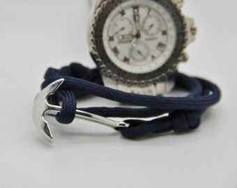 Bracelet human anchor marine navy blue Paracord