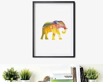 Elephant painting animal print Watercolor Art Print elephant Art Poster Illustration Painting Wall Decor wall hanging wall art S008