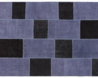 Vintage Patchwork Rug Blue-Black 160x230cm