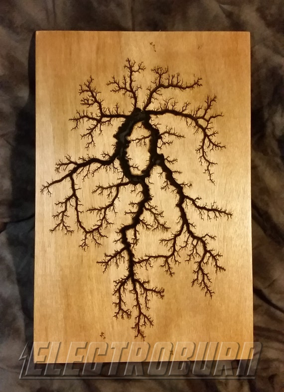 hochspannung woodburning lichtenberg fractal muster 12 x 18. Black Bedroom Furniture Sets. Home Design Ideas
