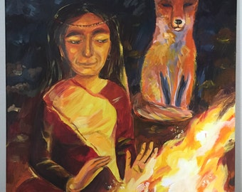 Night Forest Fire Shaman Girl and Fox Original Acrylic Painting