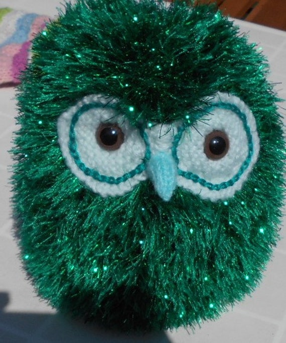 Sparkly Hedgehog Knitting Pattern : Owl Hand Knitted in Green Sparkly Yarn Owl in toys by ...