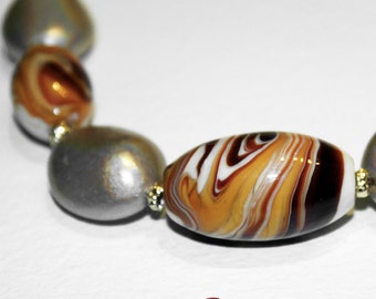 Marble Necklace made in Murano glass handmade