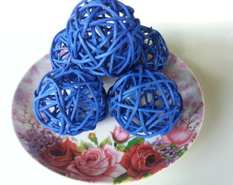 20 Blue Rattan Ball Pong Pong decorative handmade ball display home and Decor .