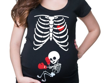 Maternity T-Shirt Skeleton Baby Boxer Tee Shirt Pregnancy Top Halloween Costume Pregnancy Top