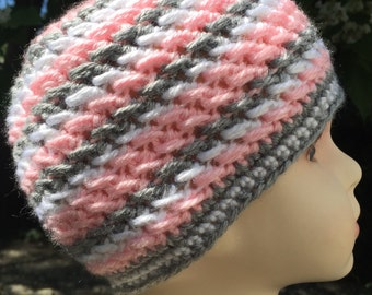 2T* Warm Soft Pink, Grey, and White Stripe Toddler Beanie