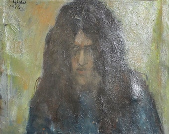 1970 Vintage portrait oil painting signed