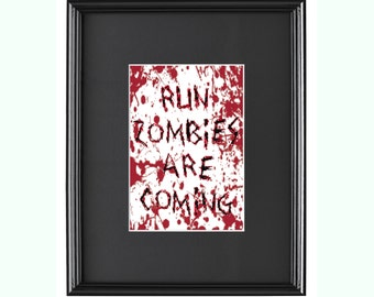 Run Zombies Are Coming - Halloween - Counted Cross Stitch Pattern - Instant Download