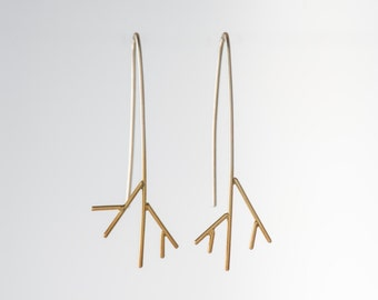 Sterling Silver (925) and 24K Gold Plated thin branch earrings, jewelry for women, nature inspired delicate jewellery