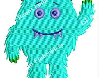 Filled Machine Embroidery - Snaggle Tooth Monster Design Pattern Instant Download 4x4 Hoop