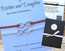 Mother Daughter Bracelet Infinity Charm ~ Love Forever Card Cotton Waxed Cord ~ Inspirational Gift ~ Wish Bracelet ~ Love Inspirational Card
