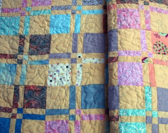 Peach Turquoise Gray Baby/Toddler Quilt, Quilted with Butterflies