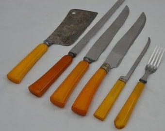 Butterscotch Bakelite Handled Knives & Fork  Assorted/6