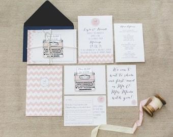 SAMPLE: Chevron blush pink and white with typewriter illustration Wedding Invitation Set, Navy Envelope and String. – UK