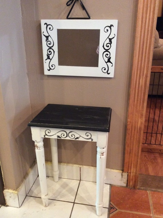 small bathroom table and matching mirror