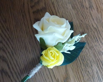 Bespoke yellow white & Ivory rose flower corsage wedding bridal boutonniere button hole rustic country style